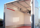 11ft Meat rail coldstore - retrofitted with 3 x C channel roof rails with hidden strengthening in roof. New floor laid in Red non slip polyester grit finish. Single phase plug in unit 240 volt. Stainless double hooks available. T bar or Round Eurorails also available.