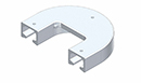 C C Channel Aluminium Curve 180 Degree Return for 40mm x 52mm Meat Rail 
