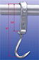 Standard hook according to DIN 5047 skid made of flat steel 35 x 12 mm, hot galvanized, meat hook made  of stainless steel, Ø 16 mm, with break-resistant off set head.