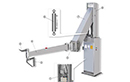 Plant meat loading Arm, used to handle the slaughtered meats inside the processing plant. All stainless steel frame, the arm is suitable for use in the food industry.  Technical specifications:<br> <br> Weight: Kg. 200<br> Travel: mm 1,800<br> Capacity: Kg. 195<br> Hydraulic central unit<br> Voltage: V 220-380 (three-phase)<br> Motor power: Kw 1.5<br> Ground: (F class)<br> Tank capacity: Lt. 5<br> Hydraulic operating pressure: 60-80 bars<br> <br> Components:<br><br>  1) Hydraulic central unit<br> 2) Hook<br> 3) Handle with up and down push-buttons<br> 4) Swinging arm<br> 5) Central joint<br> 6) Hydraulic cylinder<br> 7) Lifting arm<br> 8) Swinging column<br>