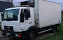 W Reg, MAN 7.5t GVW, 3 seats, 257857km, TAX June 2013, 13ft 6in Solomon body dimensions 7ft 2in wide x 6ft 8in height. GAH XF40 unit - need condenser cover, triple doors, fixed shelving.
