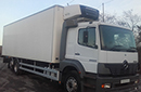 03 plate, Mercedes Atego 2528, 26t GVW, sleeper, 2 seats, 6x2, on air, 280bhp, 12 gears, tyres over 60%, 2 owners from new, FSH, 638,468km, MOT October, 28ft chereau body, 4 meat rails, 500kg meat hoist, barn doors, Carrier Supra 550 diesel unit, 3phase standby, separate diesl tank, in-cab controls.