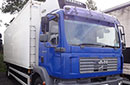 06 plate, MAN TGM 18.240, 18t GVW, 2 seats, meat railer, 240bhp, on-air, 429000km, MOT July 2017, 24ft Turner body, 4 meat rails, hooks, meat loader, Carrier Supra 750 diesel unit, 3phase standby, barn doors, chequer-plate floor.