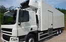 09 plate DAF CF75 310, 26t GVW, Euro5, 6X2, Sleeper, 2 seats, 427000km, MOT Jan 2017, on air, Manual gearbox, 9t front axle, 28ft Gray & Adams  body, 11ft x 7ft 5in, barn doors, nearside side door, movable bulkhead, Carrier Supra diesel unit, twin evaporators, 3phase standby, non-slip floor,  Dhollandia 1.5t tuck-away tail lift. Excellent condition. Choice of 2 398000 or 427000 Kms