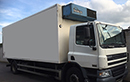 06 plate DAF CF65.220, 18t GVW, 2 seats, 220bhp, GRP body, mattress style moveable bulkhead needs some attention, Frigoblock unit 3 phase, double rear doors, nearside double door with curtains, chequer-plate floor, tuck-away tail lift.