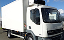 61 plate DAF LF45 160, 7.5t GVW, Euro5, 2 seats, manual, 4×2, in-cab controls,  276,937km, 14ft body, meat rails and hooks, 500kg Reg Holmes meat hoist, Carrier Xarios 500 unit, 3phase standby, barn doors, non-slip floor.
