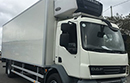 58 plate DAF LF55 220, 18t GVW, 4x2, euro5, 2 seats, 220bhp, 6 speed auto gear box, 225,000km, MOT August 2017, 1 owner from new, tyres over 60%, 25ft body with movable bulkhead, shutter door, double side doors, fold down step, Carrier 950 MT diesel unit, 3phase standby, in cab controls and temp printer, reversing camera, non-slip floor, 1.5t tail lift.