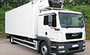 12 plate, MAN TGM 250, 18t GVW, sleeper, 348000km, MOT April 2020, automatic, air con, 6.5m wheel base, Solomon 25ft 2in x 7ft 5in body, barn doors, nearside side door, 4 rails, 4 stowing rails, hooks, Carrier Supra 850 diesel unit (5166 Hours), 3phase standby, Dhollandia Meat Loader, non-slip floor.