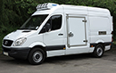 12 plate, Mercedes Sprinter 316 CDi, 3.5t GVW, MWB, high roof, 2.2L D, 18,000miles, MOT March 2015, bulkhead available for dual compartment available, Hubbard 460 direct drive unit, single phase standby, chill/freeze -25C, barn doors, plug nearside  side door.