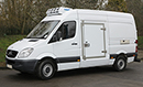 12 plate, Mercedes Sprinter 316, 3.5t GVW, MWB, high roof, 2.2L, In cab A/C, 48,000miles, GRP Leeds conversion, mattress bulkhead available for dual compartment option, Hubbard 460 unit, single-phase standby, chill/freeze -25C, barn doors, nearside side door.  Mercedes warranty to 18/07/2015.