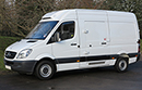 12 plate, Mercedes Sprinter 313 CDI, 3.5t GVW, MWB, 2.2 litre turbo diesel, 3 pallet capacity, GAH unit, multi temperature, dual evaporator,  chill or freeze to -25C, heat to +25C, single phase standby, moveable bulkhead, barn doors, plug nearside side door, Transcan temperature recorder.