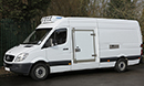 12 plate, Mercedes Sprinter 316 CDi, 3.5t GVW, LWB, 2.2LT, 95,000miles, full MOT, Hubbard 460 AEL unit, slimline evaporator, single phase standby, 12V trickle-charger, chill or freeze to -25C, heat to +25C, 4 pallet capacity, barn doors, plug nearside side door, 180 degree opening, magnetic door stay, chequer plate protection on floor and wheel arches, Transcan temperature recorder.
