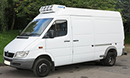 55 plate, Mercedes Sprinter 413, down rated from 4.6t to 3.5t GVW, MWB, high roof, twin rear wheels, 640,00 miles, MOT 06/03/2016, Hubbard 460 unit, road and single phase standby, Chill to -1C, barn doors, nearside side door. images coming soon. Had new engine at 385k kms.