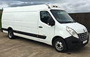 12 plate Renault Master CCML35 CDi, XLWB, 3 seats, High roof, GAH Super Rapier unit, road and single phase standby, MOT 01/03/2017, Cold Start conversion, TWIN REAR WHEELS, barn doors, nearside side door, non-slip floor. Payload 600 kgs