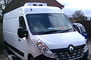 66 plate Renault Master, meat railer van, GAH unit, road and single phase standby, 3 C-channel meat rails, barn doors, nearside side door.
