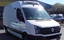 14 plate, Volkswagen Crafter 2.0TDi, MWB, Euro 5, 108bhp, 97,540 miles, MOT 07 2018, interior length 11ft,  fridge unit, barn doors, AM/FM stereo.