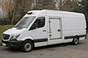 65 plate, Mercedes Sprinter 313, 3.5t GVW, LWB, 4 pallet capacity, 2.2L, turbo diesel, air con, in cab controls, 110,000 miles, MOT 08/07/2019, GAH unit, single phase standby,  multi temperature, heat to +25C, chill or freeze to -25C, Transcan temperature recorder, Mercedes rear double doors, Plug nearside side-door with wide opening, non-slip floor.