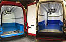 These 2 Renault Traffic vans have recently been converted to carry meat and with their high roofs and 1t payload can be used to carry animals as large as pigs and  can carry more stock than most other vans. We re-enforced the roof to take the extra weight, fitted 2 meat rails, lined the walls with insulation, board and then coated with several layers of fiberglass, this makes the walls water proof and more durable, the floor has also been boarded and coated with several layers of fiberglass, and checker plate protection was added to protect the most vulnerable parts of the floor and walls.