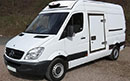 14 plate, Mercedes Sprinter 313 CDI, MWB, 120,000 miles, 6 gears, manual, 3 seat, Solomon body conversion, barn doors, nearside side slab door, GAH unit capable of going down to -15C, single phase standby, 5ft 9in internal height, non-slip floor.
